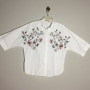 Zara • Trafaluc Embroidered Button Down Shirt
